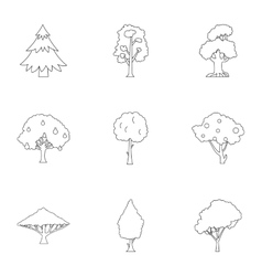 Trees icons set outline style vector