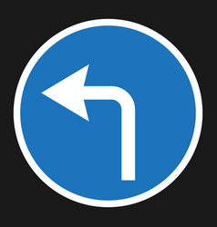 turn left arrow sign flat icon vector image vector image