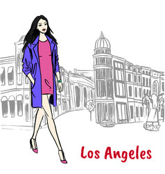 woman walking on rodeo drive vector image