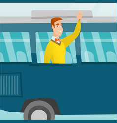 Young caucasian man waving hand from bus window vector