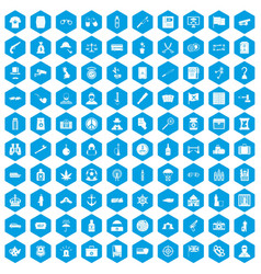 100 offence icons set blue vector