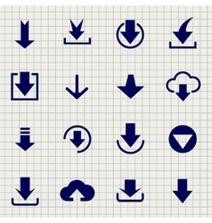 Downloading icon set on notebook page vector