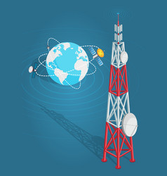 communications satellites transmits to high tower vector image