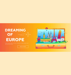dreaming of europe - flat design web banner with vector image