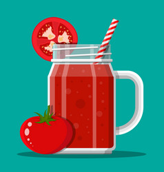 Jar with tomato smoothie with striped straw vector