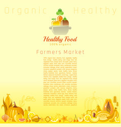 yellow autumn farmers market fruit and vegetable vector image