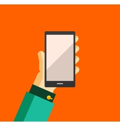 Hand holding smart phone trendy flat design vector