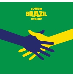 Hand shake icon using brazil flag colors vector