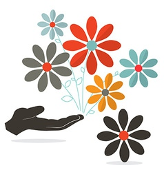 Flowers in hand vector