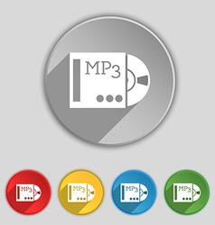 Mp3 player icon sign symbol on five flat buttons vector