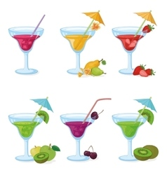Vases and glass of juice fruits berries vector