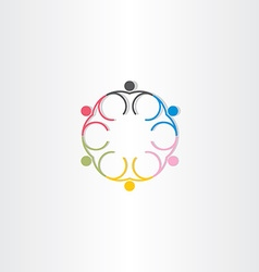 People circle color icon line symbol vector