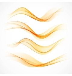 Set of orange wavy banners vector
