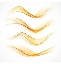 Set of orange wavy banners vector image