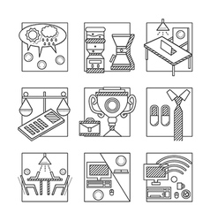 Coworking black line icons set vector