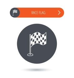 Racing flag icon finishing symbol vector
