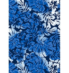 Blue tropical ferns and hibiscus with a distressed vector