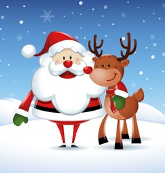 Santa claus with his friend reindeer in christmas vector