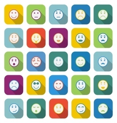 Circle face color icons with long shadow vector