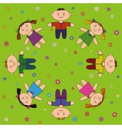 children relax on meadow vector image