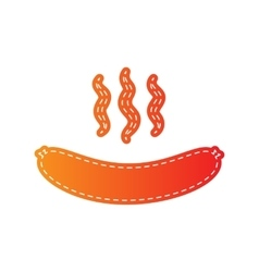 Sausage simple sign orange applique isolated vector