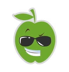 Cool sunglasses apple cartoon icon vector