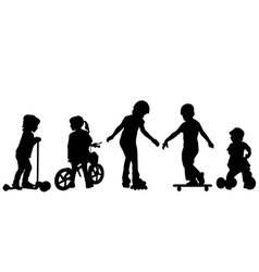 Active kids silhouettes vector image vector image