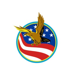 American Eagle Carry USA Flag Retro vector image