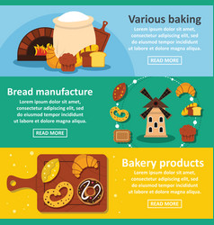 Bakery products banner horizontal set flat style vector
