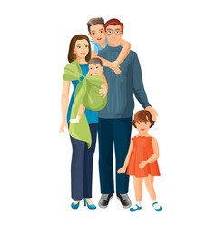 Big family mother father baby boy toddler girl vector