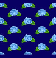 Blue hydrangea flower seamless on navy background vector