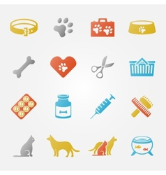 Bright veterinary pet icons set vector
