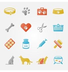 Bright veterinary pet icons set vector image