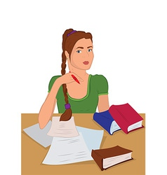 Cartoon young woman in sitting and writing vector