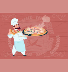 chef cook holding pizza smiling cartoon chief in vector image vector image