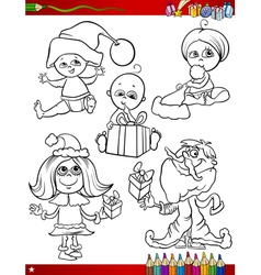 children at christmas coloring page vector image vector image