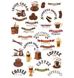Coffee shop emblems ribbons set vector image vector image