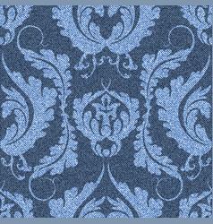 Denim background with victorian pattern blue vector