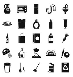 Dining icons set simple style vector