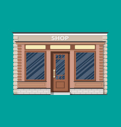Generic shop exterior wooden and bricks material vector