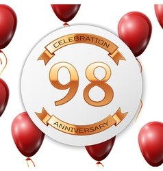 Golden number ninety eight years anniversary vector image