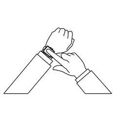 hands business man with smart watch wearable vector image