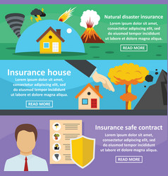 Insurance safe banner horizontal set flat style vector