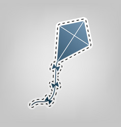 kite sign blue icon with outline for vector image