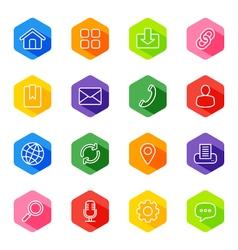 Line web icon set on colorful hexagon vector