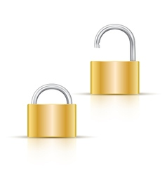 Locked and unlocked padlock icon isolated on white vector