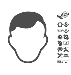 Man Face Template Icon With Tools Bonus vector image vector image