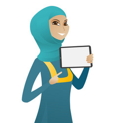 Muslim business woman holding tablet computer vector