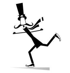 mustache man in the top hat a skater isolated vector image vector image