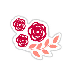 Paper sticker on white background rose branch vector